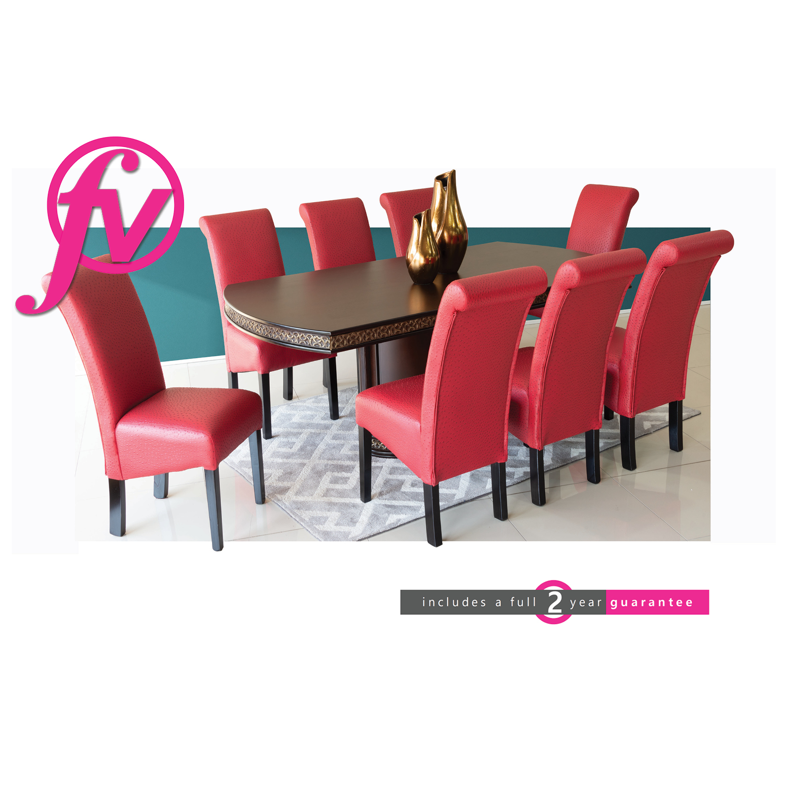 Duke Dining Room Suite 8 Seater With Red Chairs