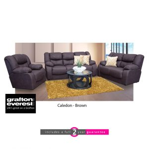 Caledon fabric lounge suite brown Grafton Everest