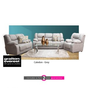 Caledon fabric lounge suite grey Grafton Everest