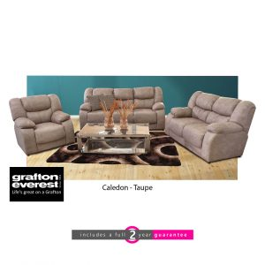 Caledon fabric lounge suite taupe Grafton Everest