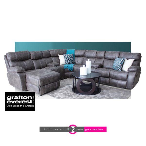 Grafton Everest Nevada 7 pie corner fabric lounge suite Palance steel furniturevibe