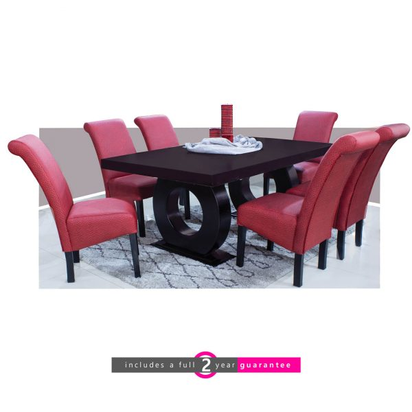 prince 1.8m table and 6 red Ryan chairs furniturevibe