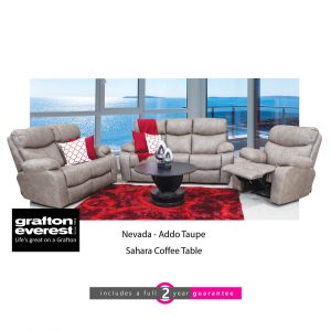 Grafton Everest Nevada 3 action taupe fabric lounge suite furniturevibe