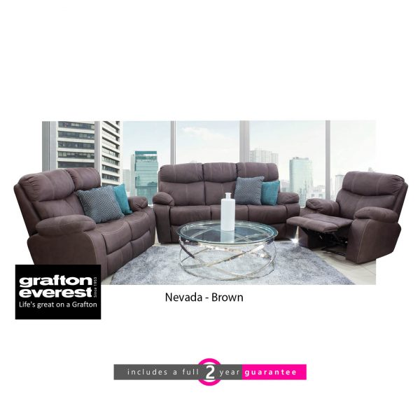 Grafton Everest Nevada 3 action lounge suite brown furniturevibe