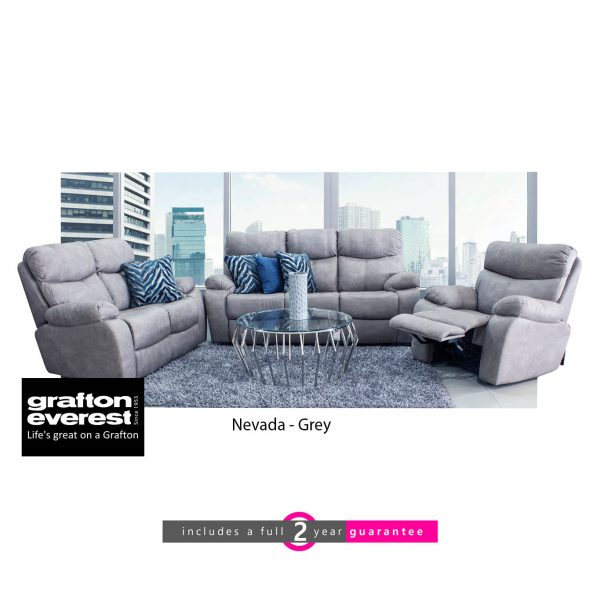 Grafton Everest Nevada 3 action lounge suite grey furniturevibe
