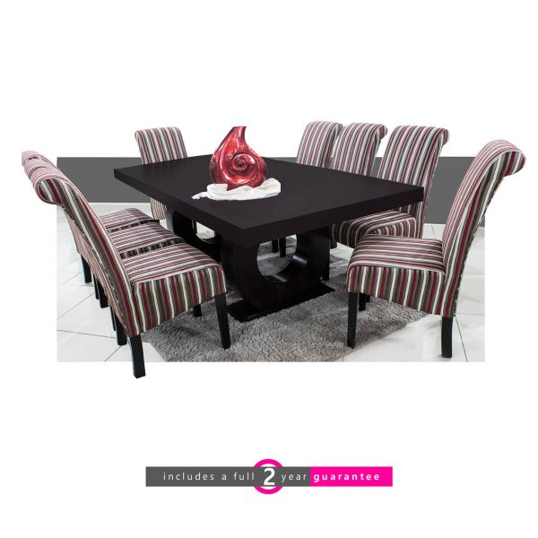 prince table and 8 Ryan Chairs cherry stripe furniturevibe