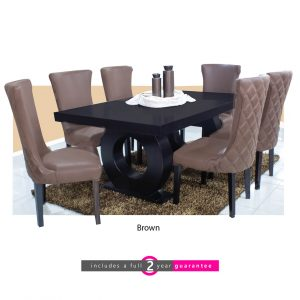 1.8m prince table 6 knight brown chairs furniturevibe