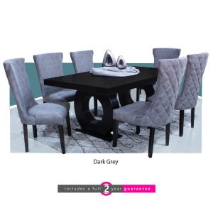 1.8m prince table 6 knight dark grey chairs furniturevibe