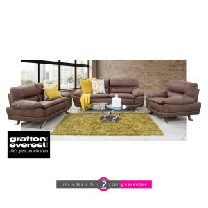 Grafton Everest Sharena fabric lounge suite Addo choc furniturevibe