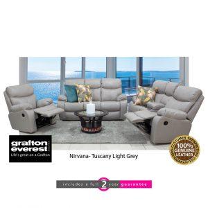 grafton everest nirvana leather lounge suite Tuscan light grey furniturevibe