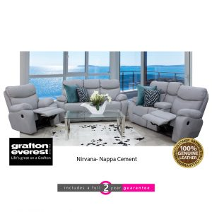 Grafton Everest nirvana 3 action leather lounge suite kappa cement furniturevibe