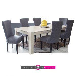 6 seater solid wood dining room suite knight grey chairs furniturevibe